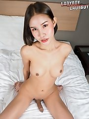 Ladyboy Natty still has that sexy body and big tits with a juicy uncut cock.