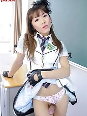 Japanese schoolgirl Karina Shiratori shows off her nice hard cock to show that an education is a good thing to earn.