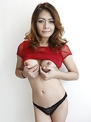 26yo Thai ladyboy gets cum on her big tits after sucking and fucking white cock