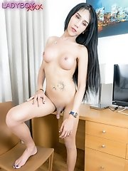 Watch busty ladyboy Natty as she masturbates her cock until she reaches her orgasm!