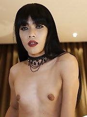 25yo skinny ladyboy strips down to reveal her hard cock and sexy ass